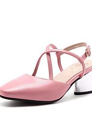 Недорогие -Жен. Обувь Дерматин Весна Лето С ремешком на лодыжке Обувь на каблуках На толстом каблуке Квадратный носок Пряжки для Повседневные Для