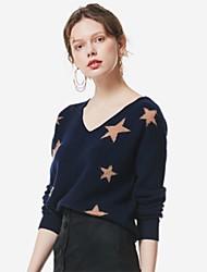 billige -Dame Langærmet Pullover - Geometrisk V-hals