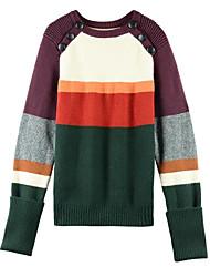 Недорогие -Жен. Длинный рукав Пуловер - Контрастных цветов
