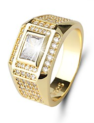cheap -Men's Cubic Zirconia Band Ring - Zircon Classic, Vintage, Elegant 7 / 8 / 9 Gold For Wedding / Daily / Ceremony