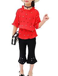 abordables -Fille Quotidien Vacances Couleur Pleine Ensemble de Vêtements, Coton Polyester Eté Demi Manches Actif Basique Rouge Rose Claire