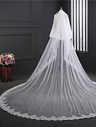 cheap -Two-tier Double Layered Wedding Veil Cathedral Veils 53 Embroidery Tulle