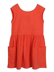 abordables -Robe Fille de Quotidien Vacances Couleur Pleine Coton Printemps Eté Manches Courtes simple Actif Orange