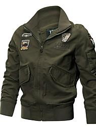 Недорогие -Муж. Куртка Однотонный Вышивка
