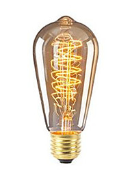abordables -1pc 40W 360lm E26 / E27 Ampoules à Filament LED ST64 Edison Bulb Perles LED COB Intensité Réglable Décorative Blanc Chaud 220-240V