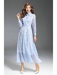 cheap -Women's Holiday Puff Sleeve Skinny Chiffon Swing Dress - Floral Print Maxi Shirt Collar