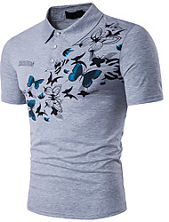 abordables -Hombre Algodón Camiseta, Cuello Camisero / Manga Corta