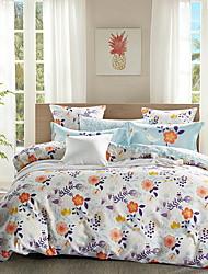 cheap -Duvet Cover Sets Floral 4 Piece Poly/Cotton 100% Cotton Reactive Print Poly/Cotton 100% Cotton 1pc Duvet Cover 2pcs Shams 1pc Flat Sheet