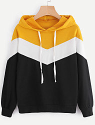 cheap -Women's Hoodie - Color Block, Modern Style