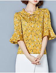 baratos -Mulheres Blusa Estampado, Floral Algodão Colarinho Chinês