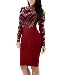 cheap -Women's Skinny Bodycon Dress - Solid, Mesh High Waist Crew Neck