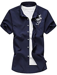 cheap -Men's Cotton Slim Shirt - Floral