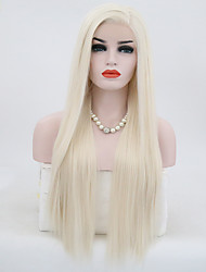 cheap -Synthetic Lace Front Wig Straight Blonde Synthetic Hair Natural Hairline Blonde Wig Women's Long Lace Front