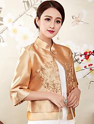 baratos -Mulheres Blusa Temática Asiática Bordado, Sólido Colarinho Chinês