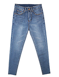 cheap -Women's Skinny Jeans Pants - Solid Colored Patchwork