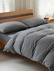 cheap -Duvet Cover Sets Solid 3 Piece Poly/Cotton Yarn Dyed Poly/Cotton 1pc Duvet Cover 1pc Sham 1pc Fitted Sheet