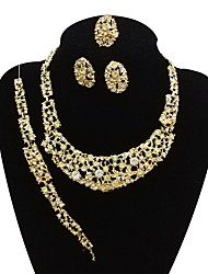 cheap -Women's Rhinestone Oversized Jewelry Set 1 Necklace / 1 Bracelet / 1 Ring - Vintage / Oversized / Statement Line Gold Jewelry Set /