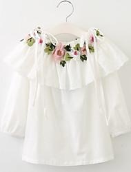 baratos -Menina de Vestido Diário Para Noite Sólido Floral Jacquard Primavera Verão Algodão Manga Longa Simples Vintage Branco