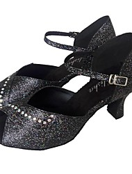 cheap -Women's Latin Shoes Sparkling Glitter Sandal Rhinestone Customized Heel Customizable Dance Shoes Black / Indoor