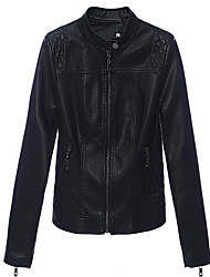 cheap -Women's Basic Leather Jacket-Solid Colored,Print