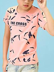 economico -Da ragazzo Quotidiano Con stampe T-shirt, Cotone Estate Manica corta Attivo Nero Rosa
