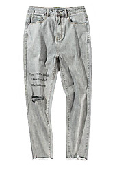economico -pantaloni jeans micro-elastici normali da uomo di media altezza, semplice molla in poliestere a lettera