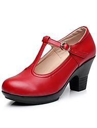 baratos -Mulheres Sapatos Microfibra Primavera Outono Plataforma Básica Saltos Salto Robusto Ponta Redonda Presilha para Ao ar livre Preto Prata