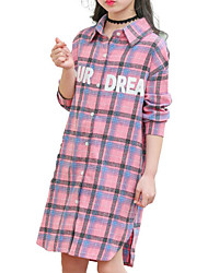 cheap -Girls' Daily Solid Colored Print Plaid Shirt, Cotton Polyester Spring Fall Long Sleeves Basic Blushing Pink Yellow