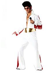 Недорогие -Элвис В стиле 1960-х Костюм Муж. Косплэй парики Костюм для вечеринки Маскарад Белый Винтаж Косплей Длинные Пант Летучая мышь Классические