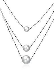abordables -Femme Perle Argent sterling Pendentif de collier  -  Mode Forme Géométrique Argent Colliers Tendance Pour Cadeau Quotidien