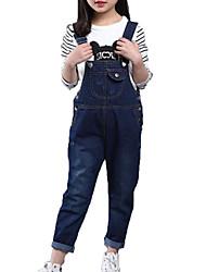Недорогие -Дети Девочки Простой / На каждый день Повседневные Однотонный Без рукавов Хлопок / Полиэстер Джинсы Синий 140