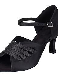 للمرأة لاتيني بريّق ستان صندل كعب متخصص كعب مخصص أسود مخصص