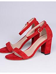 preiswerte -Damen Schuhe Leder Frühling Sommer Pumps Komfort Sandalen Blockabsatz für Normal Weiß Schwarz Rot Mandelfarben