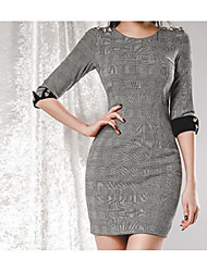 cheap -Women's Work Basic Puff Sleeve Slim Bodycon Dress - Check Print High Waist