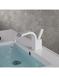 abordables -Moderne Montage Jet pluie Séparé Soupape céramique Mitigeur un trou Peintures, Robinet lavabo