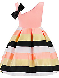cheap -Girl's Daily Print Dress, Cotton Polyester Summer Sleeveless Basic Blushing Pink Yellow Light Green