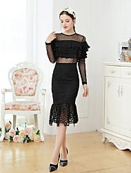 levne -Dámské Vintage Štíhlý Bodycon Šaty - Jednobarevné, Plisé Midi