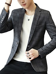 cheap -Men's Business Casual Blazer-Plaid / Please choose one size larger according to your normal size. / Long Sleeve
