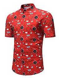 abordables -Hombre Básico / Tejido Oriental Tallas Grandes Estampado - Algodón Camisa Geométrico / Manga Corta