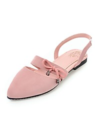cheap -Women's Shoes Nubuck leather Summer Slingback Comfort Flats Flat Heel Pointed Toe Bowknot for Casual Black Beige Red Green Pink