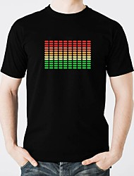 economico -T-shirt con LED Luminoso Puro cotone LED Casual 2 batterie AAA