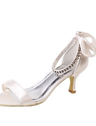 abordables -Mujer Zapatos Seda Primavera / Verano Pump Básico Zapatos de boda Tacón Bajo Punta abierta Pedrería Champaña
