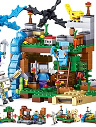 cheap -LELE 4 in 1 MY WORLD Compatible Legoed Minecrafted figures city Building Blocks 378pcs Focus Toy City View Architecture Toy Girls' Boys'