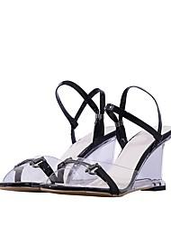baratos -Mulheres Sapatos Pele Verão Chanel Sandálias Salto Alto de Cristal Dedo Aberto Branco / Preto / Festas & Noite