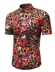 cheap -Men's Boho / Chinoiserie Plus Size Cotton Shirt - Floral / Leopard Print / Short Sleeve