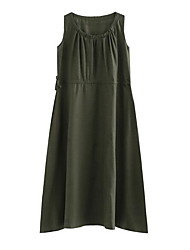 cheap -Women's Vintage Puff Sleeve Loose Dress - Solid Colored, Criss-Cross