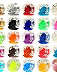 Недорогие -1pcs Порошок блеска Пайетки Блестящие Советы для ногтей