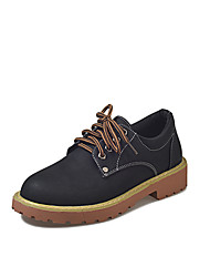 cheap -Women's Shoes PU Fall Comfort Oxfords Creepers Round Toe Lace-up for Casual Black Brown Khaki