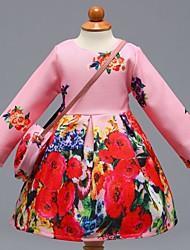 economico -Vestito Ragazza Quotidiano Scuola Cotone Fantasia floreale Monocolore Primavera Estate Manica lunga Romantico Casual Rosa