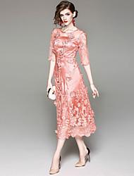 baratos -Mulheres Básico Evasê Vestido - Com Transparência Bordado, Sólido Médio